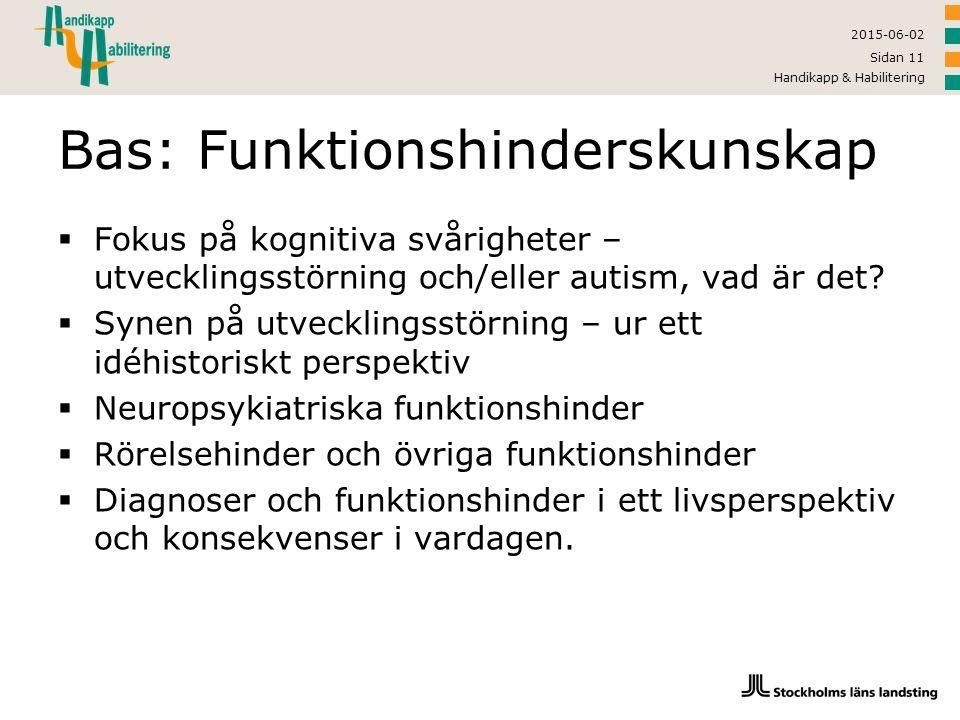 2015-06-02 Handikapp & Habilitering Sidan 11 Bas: Funktionshinderskunskap  Fokus på kognitiva svårigheter – utvecklingsstörning och/eller autism, vad
