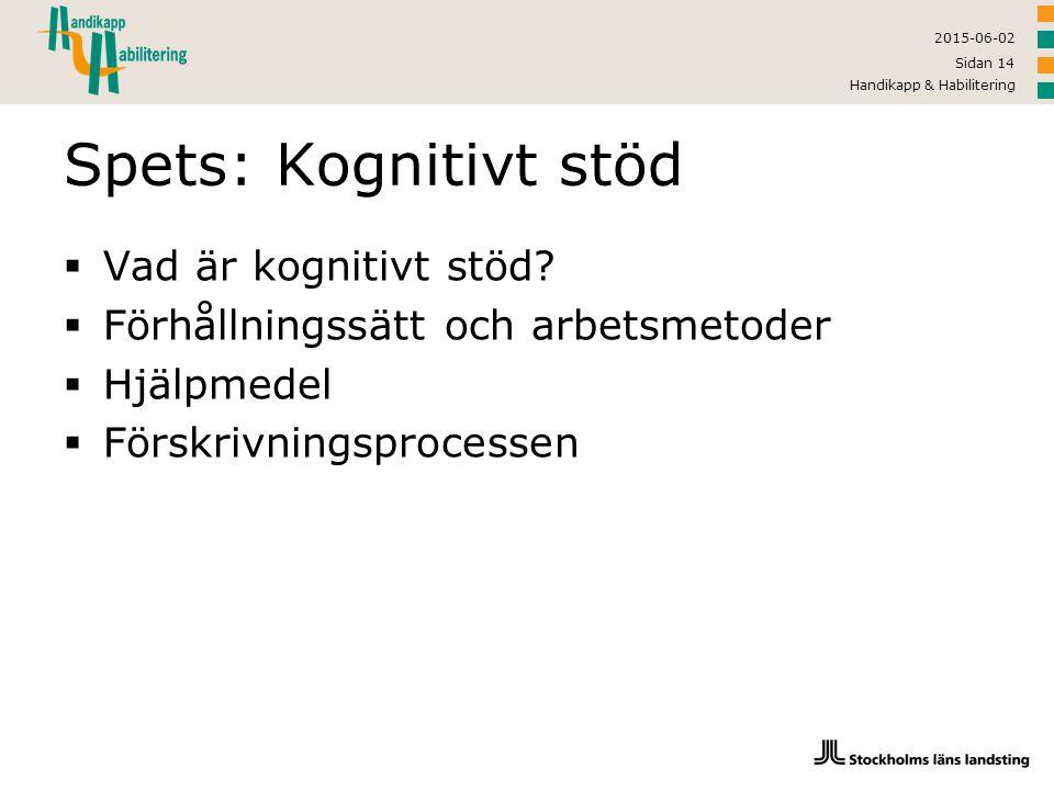 2015-06-02 Handikapp & Habilitering Sidan 14 Spets: Kognitivt stöd  Vad är kognitivt stöd?  Förhållningssätt och arbetsmetoder  Hjälpmedel  Förskr