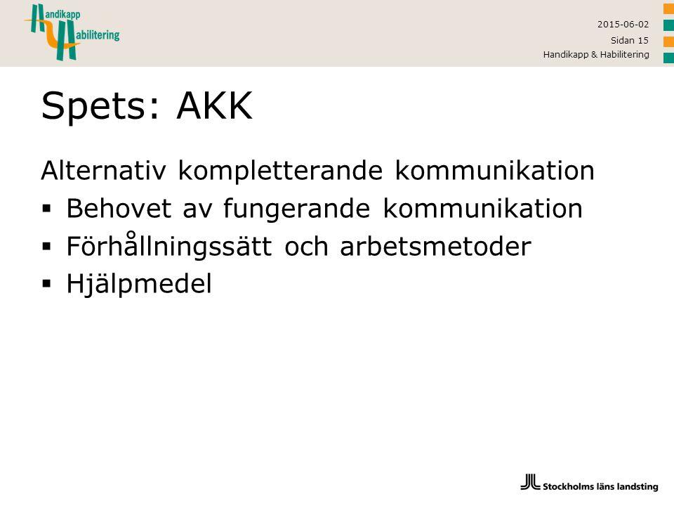 2015-06-02 Handikapp & Habilitering Sidan 15 Spets: AKK Alternativ kompletterande kommunikation  Behovet av fungerande kommunikation  Förhållningssä