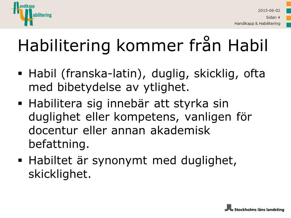 2015-06-02 Handikapp & Habilitering Sidan 4 Habilitering kommer från Habil  Habil (franska-latin), duglig, skicklig, ofta med bibetydelse av ytlighet