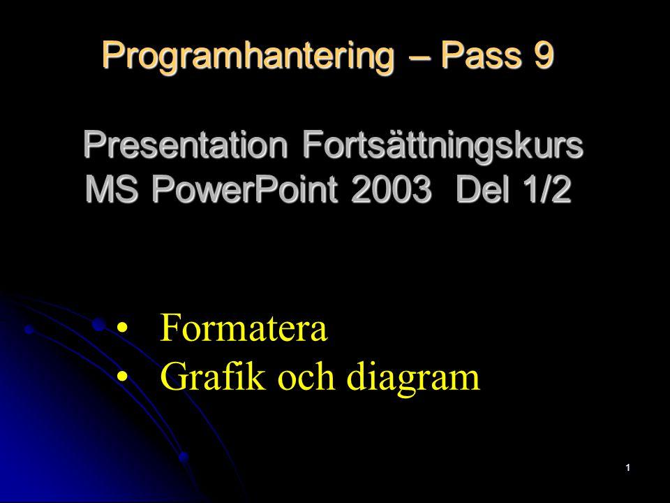 1 Programhantering – Pass 9 Presentation Fortsättningskurs MS PowerPoint 2003 Del 1/2 Formatera Grafik och diagram