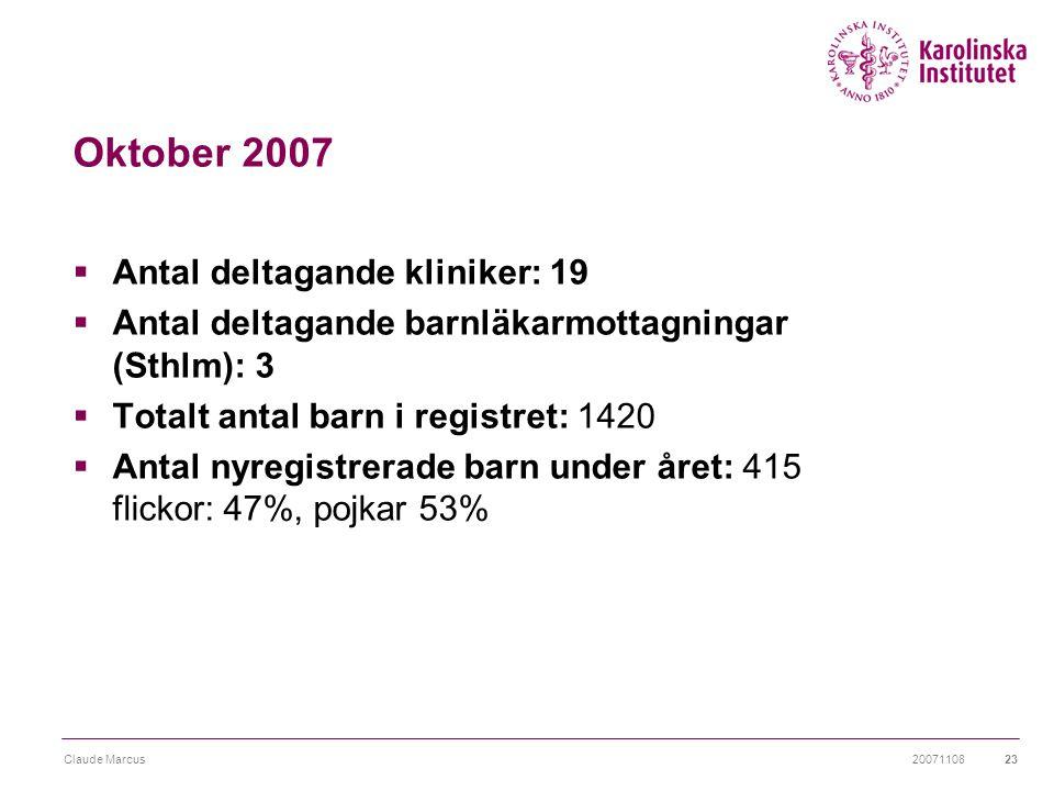 20071108Claude Marcus23 Oktober 2007  Antal deltagande kliniker: 19  Antal deltagande barnläkarmottagningar (Sthlm): 3  Totalt antal barn i registr