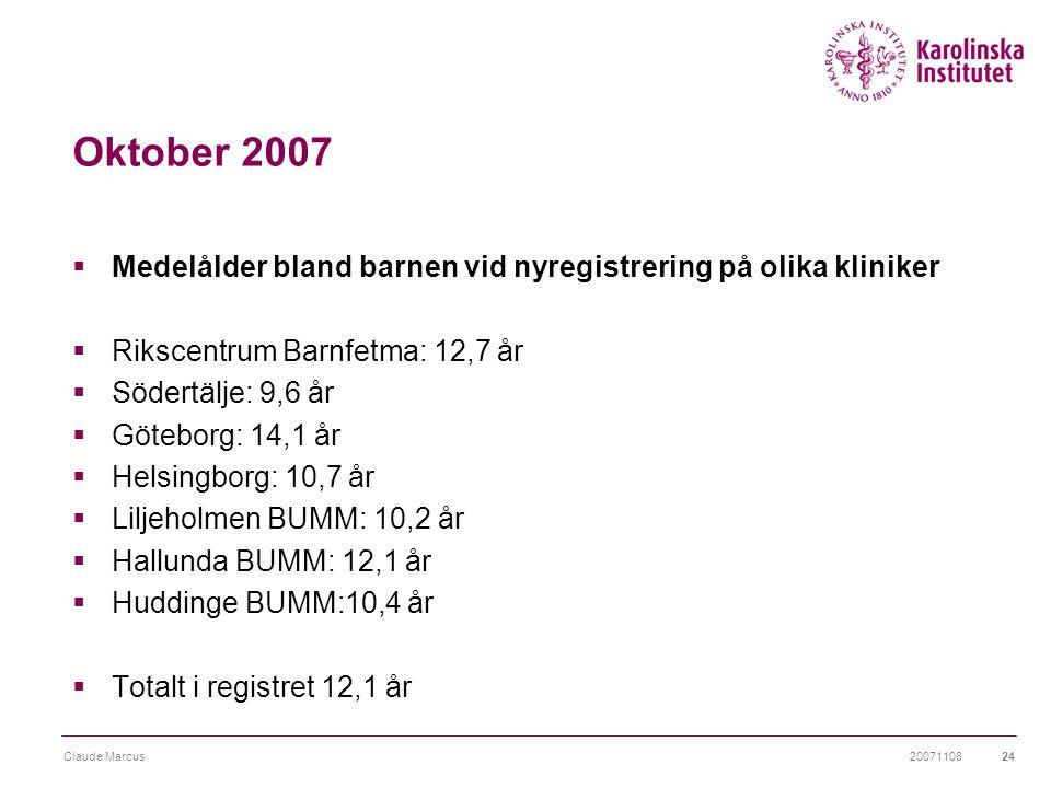 20071108Claude Marcus24 Oktober 2007  Medelålder bland barnen vid nyregistrering på olika kliniker  Rikscentrum Barnfetma: 12,7 år  Södertälje: 9,6