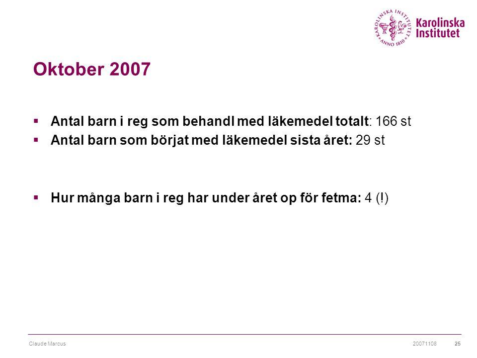 20071108Claude Marcus25 Oktober 2007  Antal barn i reg som behandl med läkemedel totalt: 166 st  Antal barn som börjat med läkemedel sista året: 29