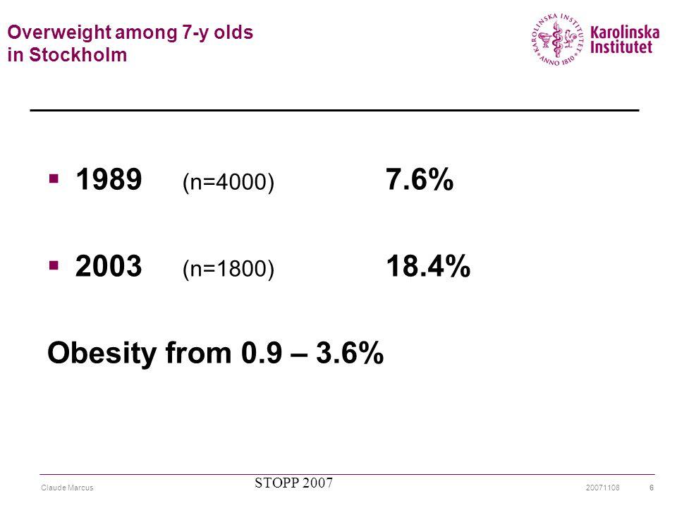 20071108Claude Marcus7 Förekomst fetma/övervikt hos barn 7-11 år i Europa Lobstein T et al.