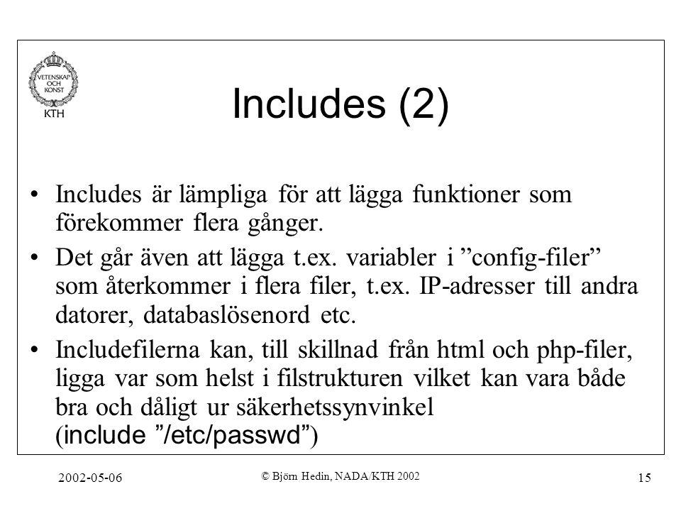 2002-05-06 © Björn Hedin, NADA/KTH 2002 15 Includes (2) Includes är lämpliga för att lägga funktioner som förekommer flera gånger. Det går även att lä
