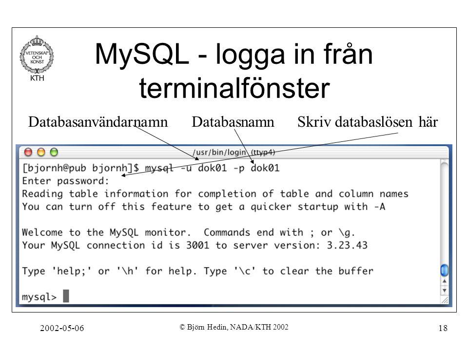 2002-05-06 © Björn Hedin, NADA/KTH 2002 18 MySQL - logga in från terminalfönster DatabasanvändarnamnDatabasnamnSkriv databaslösen här