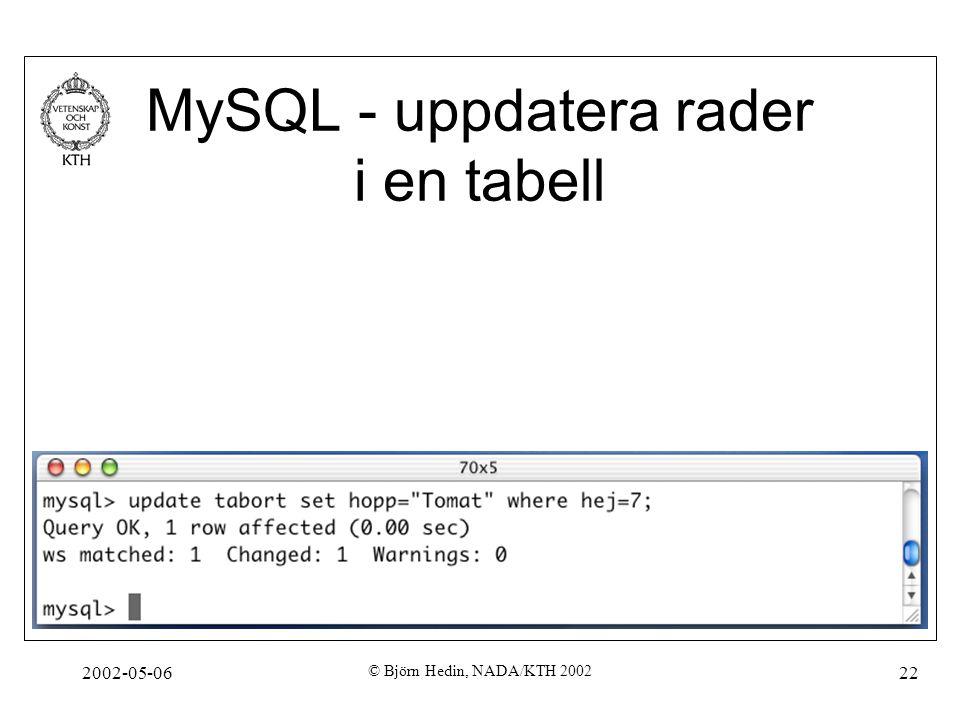 2002-05-06 © Björn Hedin, NADA/KTH 2002 22 MySQL - uppdatera rader i en tabell