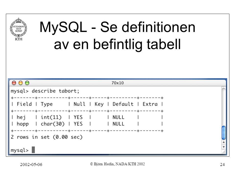 2002-05-06 © Björn Hedin, NADA/KTH 2002 24 MySQL - Se definitionen av en befintlig tabell