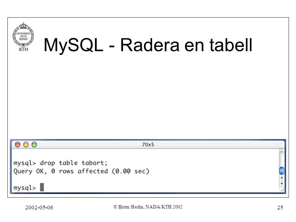 2002-05-06 © Björn Hedin, NADA/KTH 2002 25 MySQL - Radera en tabell