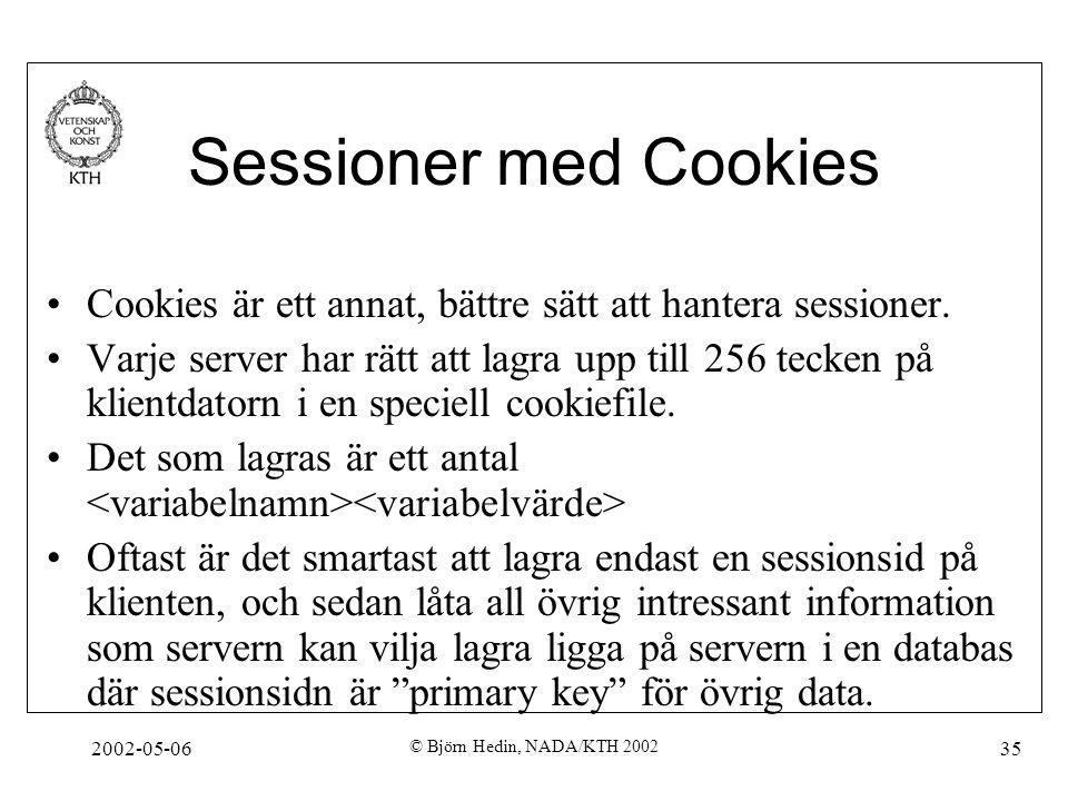 2002-05-06 © Björn Hedin, NADA/KTH 2002 35 Sessioner med Cookies Cookies är ett annat, bättre sätt att hantera sessioner. Varje server har rätt att la