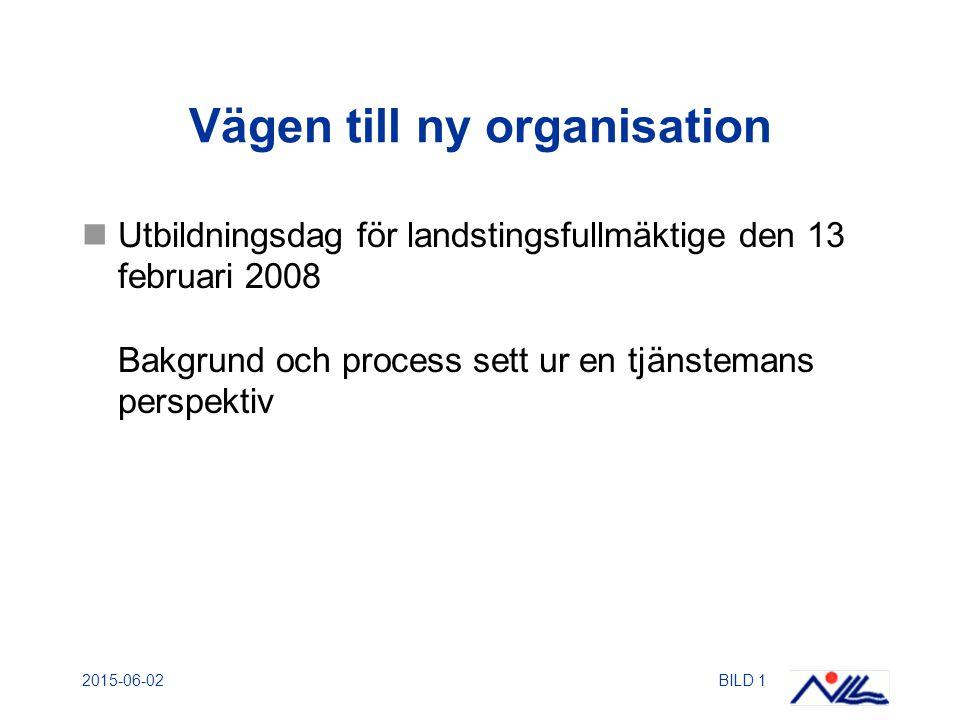 2015-06-02BILD 1 Vägen till ny organisation Utbildningsdag för landstingsfullmäktige den 13 februari 2008 Bakgrund och process sett ur en tjänstemans perspektiv