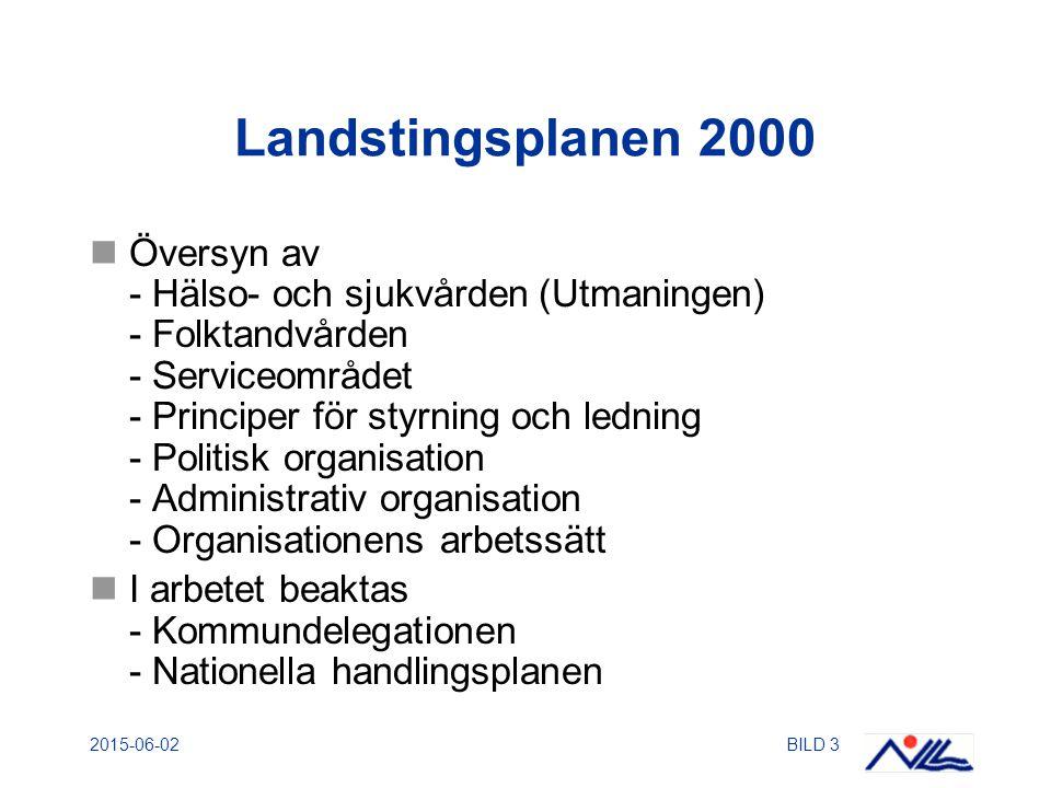 2015-06-02BILD 4 Ny politisk och administrativ organisation - Genomförande Arbetet startade i augusti 2000 Beslut i landstingsstyrelsen om principerna 9 november 2000.