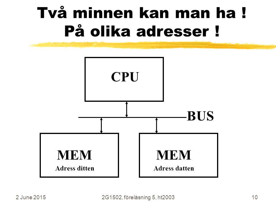 2 June 20152G1502, föreläsning 5, ht200310 Två minnen kan man ha ! På olika adresser ! CPU MEM BUS MEM Adress dittenAdress datten