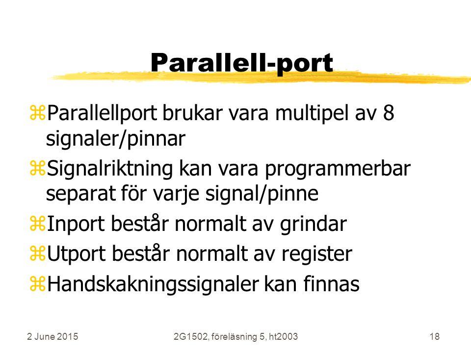2 June 20152G1502, föreläsning 5, ht200318 Parallell-port zParallellport brukar vara multipel av 8 signaler/pinnar zSignalriktning kan vara programmerbar separat för varje signal/pinne zInport består normalt av grindar zUtport består normalt av register zHandskakningssignaler kan finnas