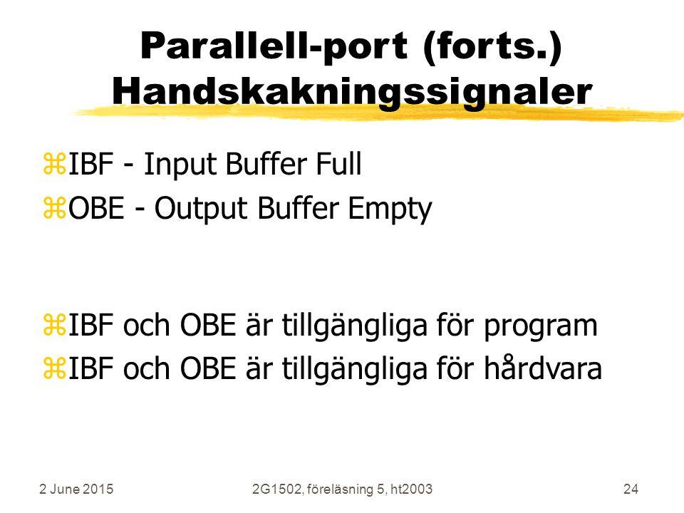 2 June 20152G1502, föreläsning 5, ht200324 Parallell-port (forts.) Handskakningssignaler zIBF - Input Buffer Full zOBE - Output Buffer Empty zIBF och OBE är tillgängliga för program zIBF och OBE är tillgängliga för hårdvara