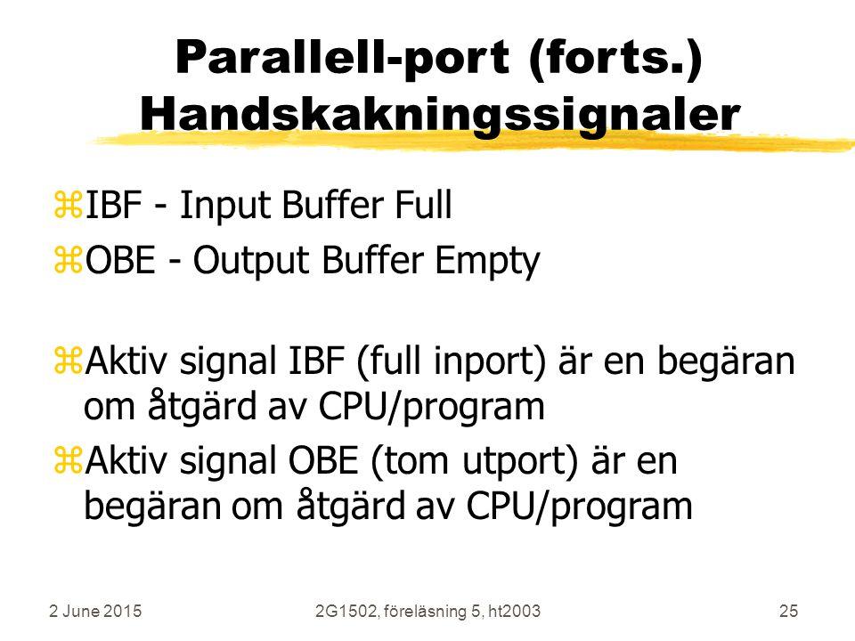 2 June 20152G1502, föreläsning 5, ht200325 Parallell-port (forts.) Handskakningssignaler zIBF - Input Buffer Full zOBE - Output Buffer Empty zAktiv signal IBF (full inport) är en begäran om åtgärd av CPU/program zAktiv signal OBE (tom utport) är en begäran om åtgärd av CPU/program