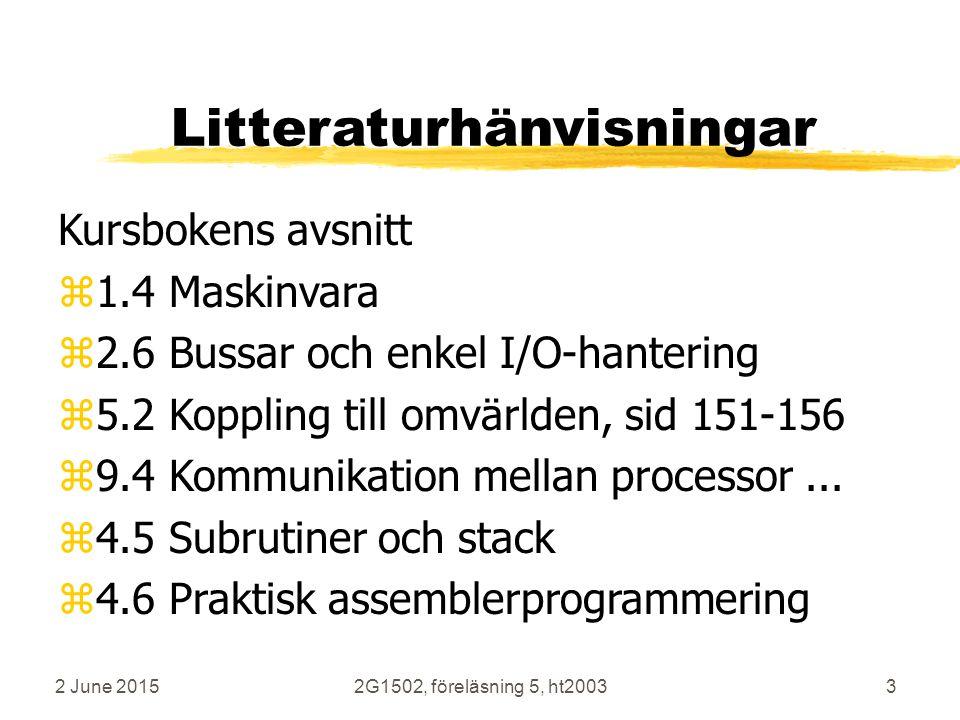 2 June 20152G1502, föreläsning 5, ht20033 Litteraturhänvisningar Kursbokens avsnitt z1.4 Maskinvara z2.6 Bussar och enkel I/O-hantering z5.2 Koppling