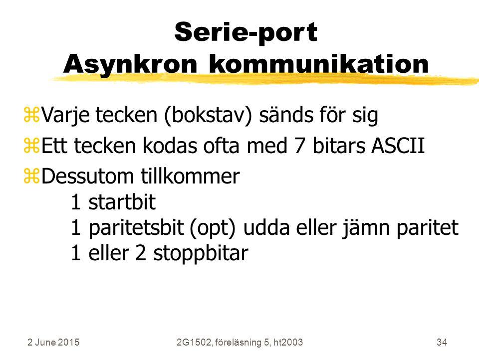 2 June 20152G1502, föreläsning 5, ht200334 Serie-port Asynkron kommunikation zVarje tecken (bokstav) sänds för sig zEtt tecken kodas ofta med 7 bitars