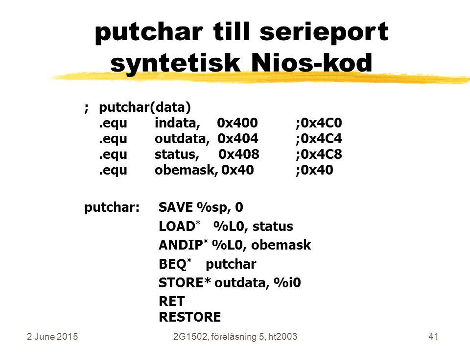2 June 20152G1502, föreläsning 5, ht200341 putchar till serieport syntetisk Nios-kod ;putchar(data).equindata, 0x400;0x4C0.equoutdata, 0x404;0x4C4.equstatus, 0x408;0x4C8.equobemask, 0x40;0x40 putchar: SAVE %sp, 0 LOAD * %L0, status ANDIP * %L0, obemask BEQ * putchar STORE* outdata, %i0 RET RESTORE