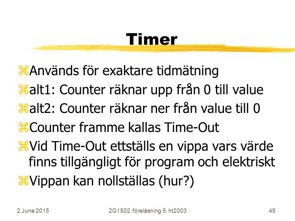 2 June 20152G1502, föreläsning 5, ht200349 Timer zAnvänds för exaktare tidmätning zalt1: Counter räknar upp från 0 till value zalt2: Counter räknar ner från value till 0 zCounter framme kallas Time-Out zVid Time-Out ettställs en vippa vars värde finns tillgängligt för program och elektriskt zVippan kan nollställas (hur?)
