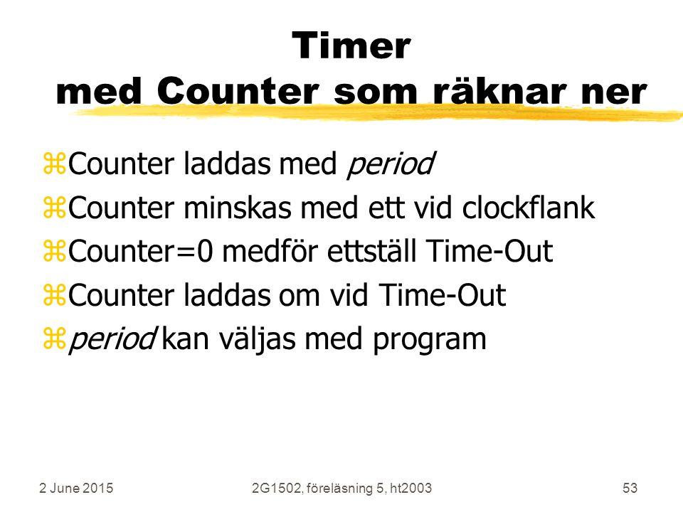 2 June 20152G1502, föreläsning 5, ht200353 Timer med Counter som räknar ner zCounter laddas med period zCounter minskas med ett vid clockflank zCounter=0 medför ettställ Time-Out zCounter laddas om vid Time-Out zperiod kan väljas med program