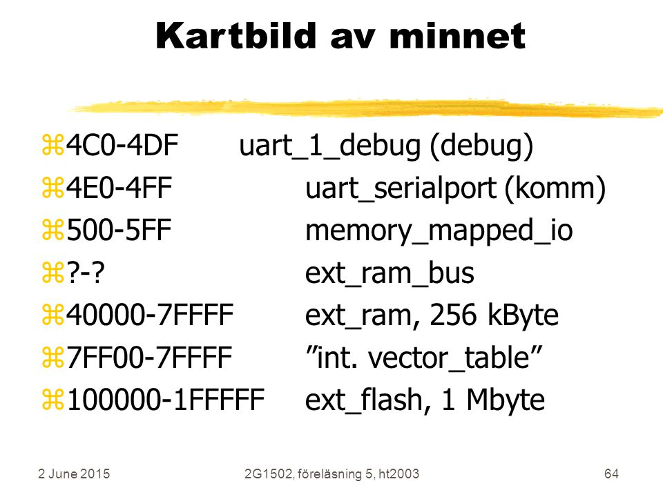 2 June 20152G1502, föreläsning 5, ht200364 Kartbild av minnet z4C0-4DFuart_1_debug (debug) z4E0-4FFuart_serialport (komm) z500-5FFmemory_mapped_io z?-