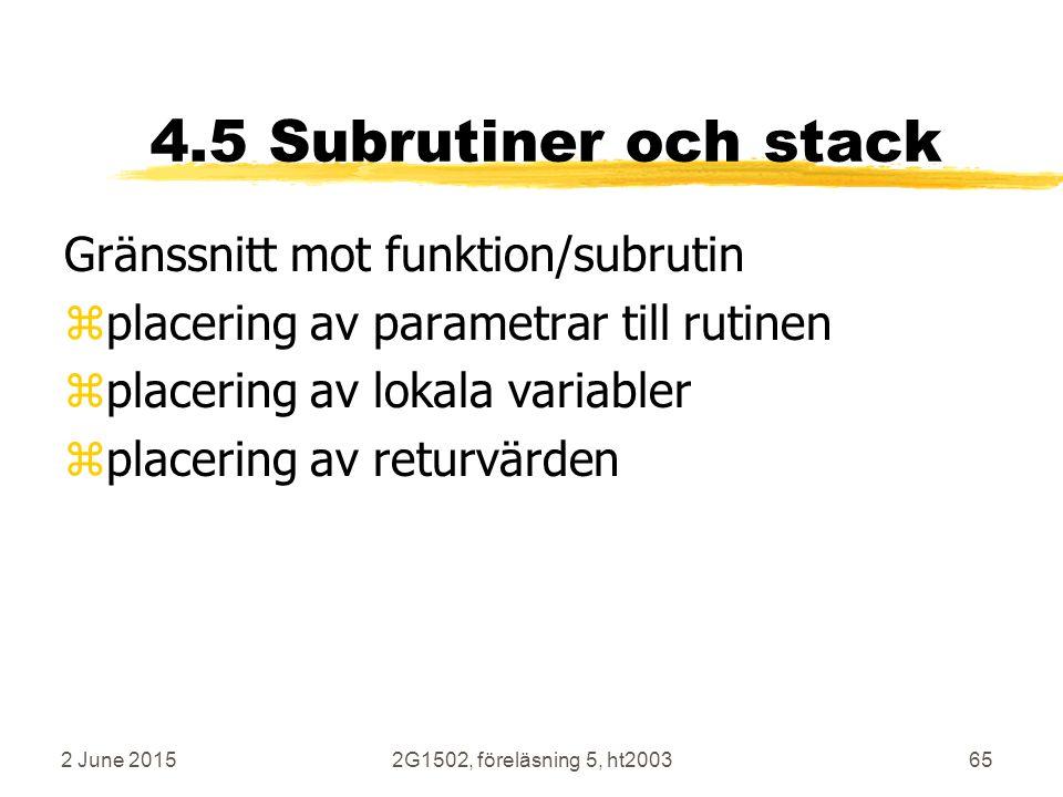 2 June 20152G1502, föreläsning 5, ht200365 4.5 Subrutiner och stack Gränssnitt mot funktion/subrutin zplacering av parametrar till rutinen zplacering av lokala variabler zplacering av returvärden