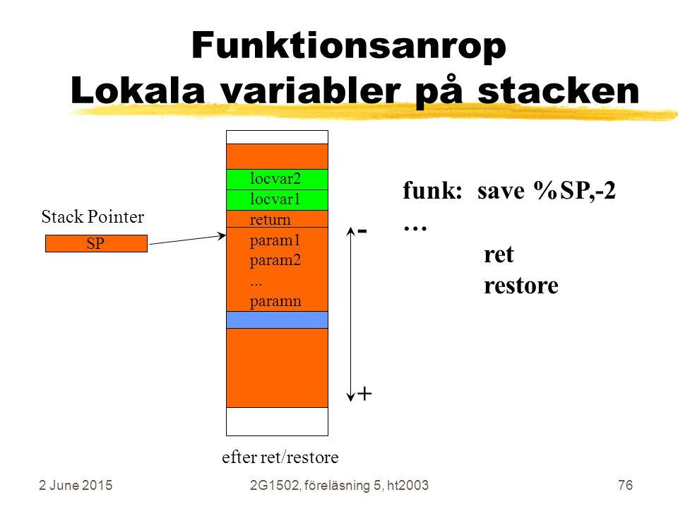 2 June 20152G1502, föreläsning 5, ht200376 Funktionsanrop Lokala variabler på stacken funk: save %SP,-2 … ret restore + - Stack Pointer SP locvar2 loc