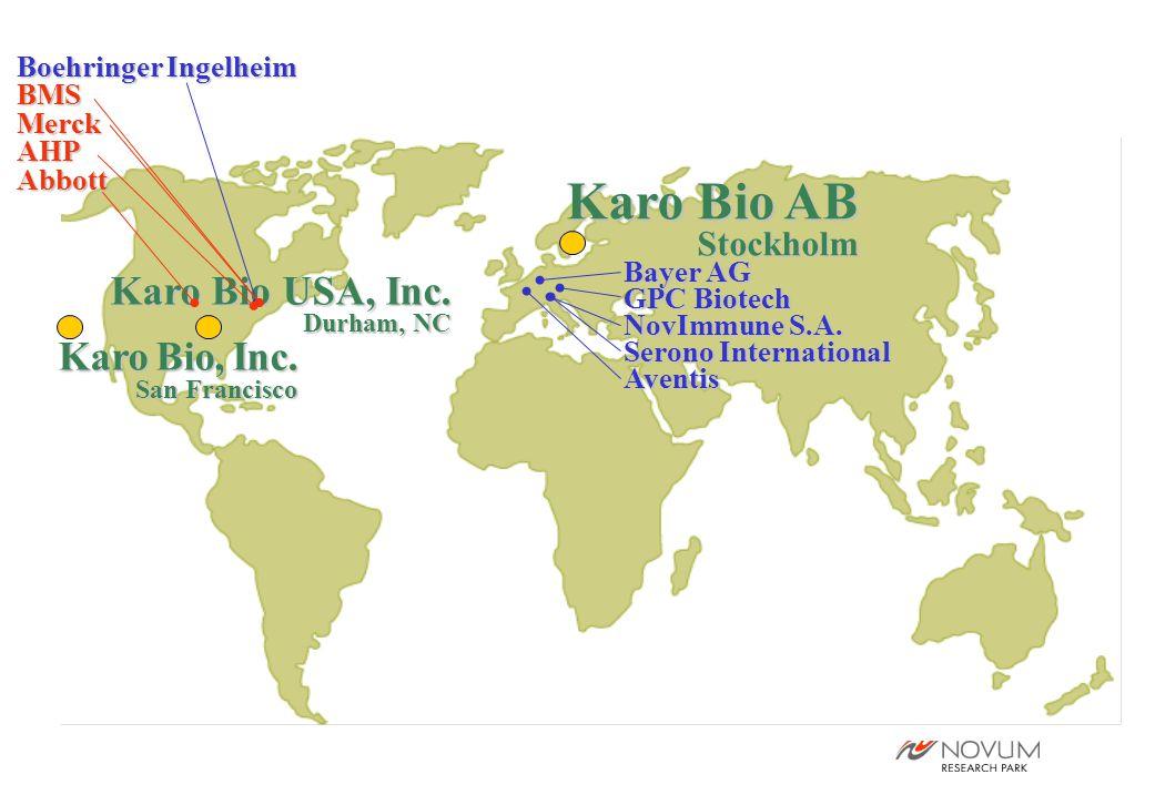 Karo Bio AB Stockholm Karo Bio USA, Inc. Durham, NC Karo Bio, Inc. San Francisco Bayer AG GPC Biotech NovImmune S.A. Serono International Aventis Boeh