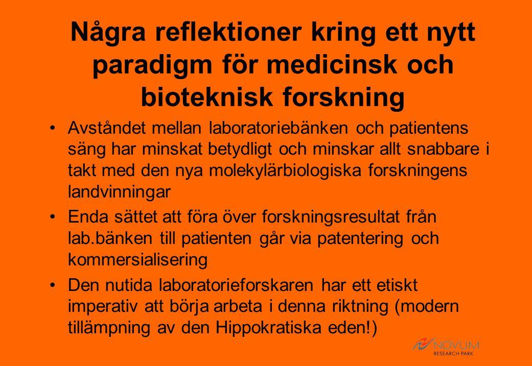 Några reflektioner kring ett nytt paradigm för medicinsk och bioteknisk forskning Avståndet mellan laboratoriebänken och patientens säng har minskat betydligt och minskar allt snabbare i takt med den nya molekylärbiologiska forskningens landvinningar Enda sättet att föra över forskningsresultat från lab.bänken till patienten går via patentering och kommersialisering Den nutida laboratorieforskaren har ett etiskt imperativ att börja arbeta i denna riktning (modern tillämpning av den Hippokratiska eden!)