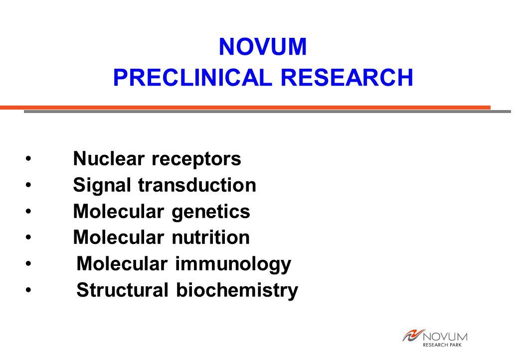 NOVUM PRECLINICAL RESEARCH Nuclear receptors Signal transduction Molecular genetics Molecular nutrition Molecular immunology Structural biochemistry