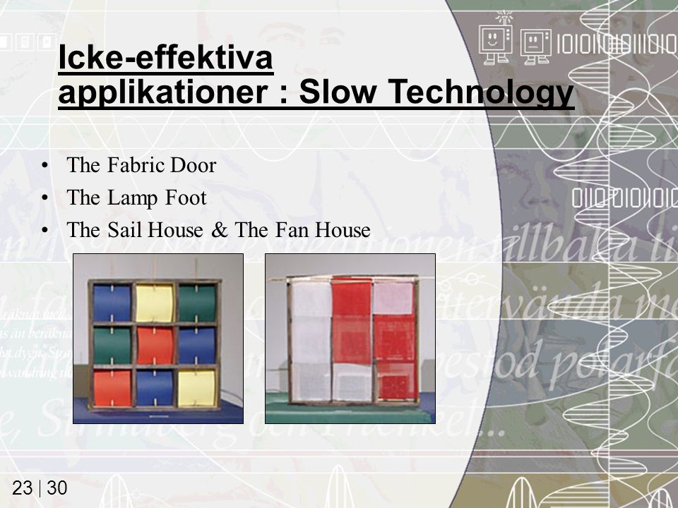30 23 The Fabric Door The Lamp Foot The Sail House & The Fan House Icke-effektiva applikationer : Slow Technology