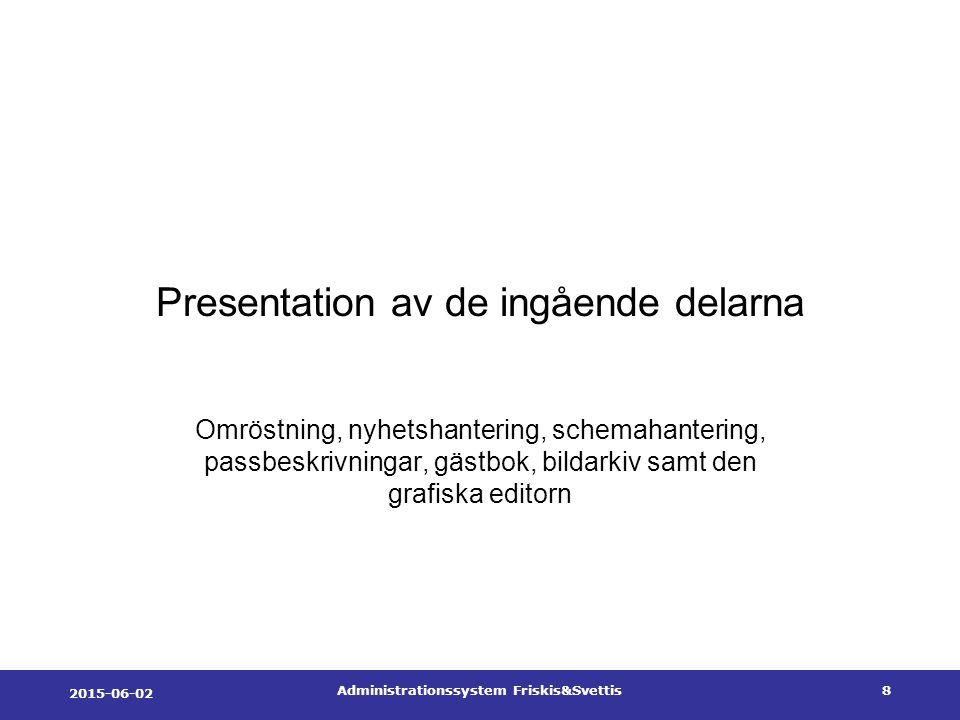 2015-06-02 Administrationssystem Friskis&Svettis8 Presentation av de ingående delarna Omröstning, nyhetshantering, schemahantering, passbeskrivningar, gästbok, bildarkiv samt den grafiska editorn