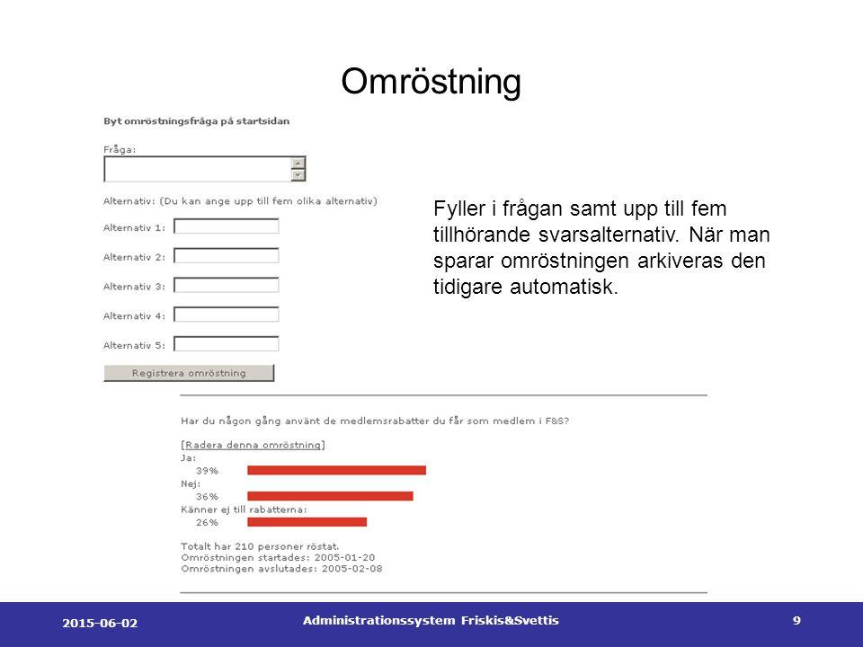 2015-06-02 Administrationssystem Friskis&Svettis9 Omröstning Fyller i frågan samt upp till fem tillhörande svarsalternativ.