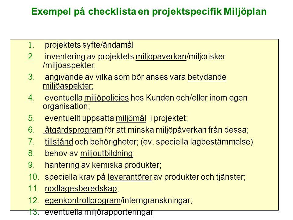 Exempel på checklista en projektspecifik Miljöplan 1.