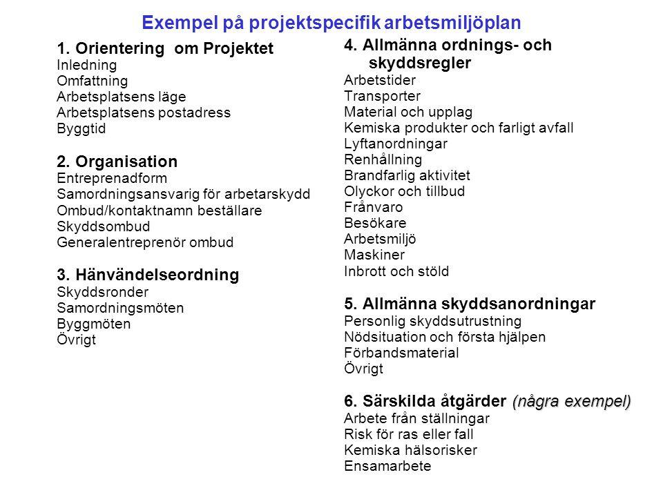 Exempel på projektspecifik arbetsmiljöplan 1.