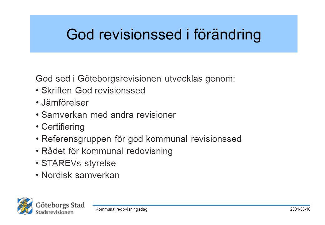 2004-06-16Kommunal redovisningsdag Nämndens ansvar enligt kommunallagen kap.