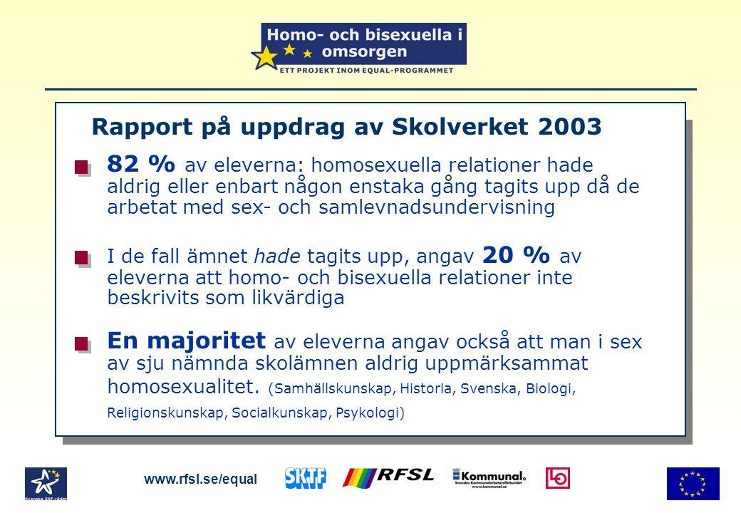 Rapport på uppdrag av Skolverket 2003 www.rfsl.se/equal 82 % av eleverna: homosexuella relationer hade aldrig eller enbart någon enstaka gång tagits u