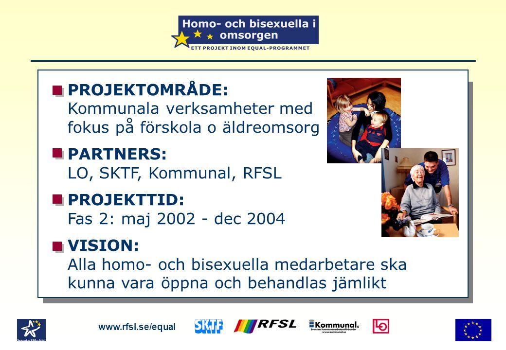 PROJEKTOMRÅDE: Kommunala verksamheter med fokus på förskola o äldreomsorg PARTNERS: LO, SKTF, Kommunal, RFSL PROJEKTTID: Fas 2: maj 2002 - dec 2004 VISION: Alla homo- och bisexuella medarbetare ska kunna vara öppna och behandlas jämlikt www.rfsl.se/equal