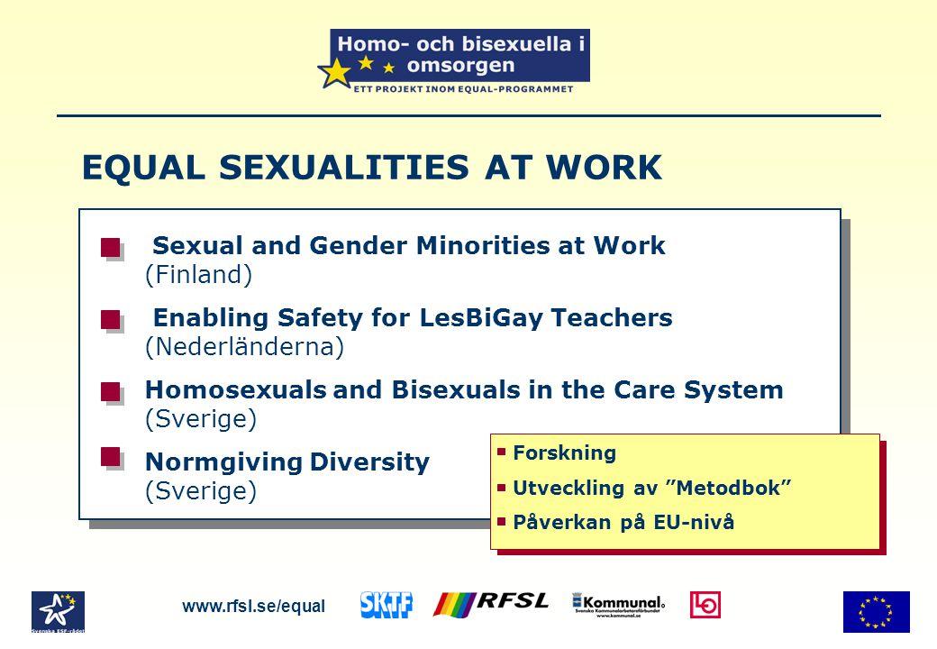 Exempel på skrivningar i biologiböcker www.rfsl.se/equal Vuxna homosexuella söker sig ofta en partner hos ungdomar av samma kön.