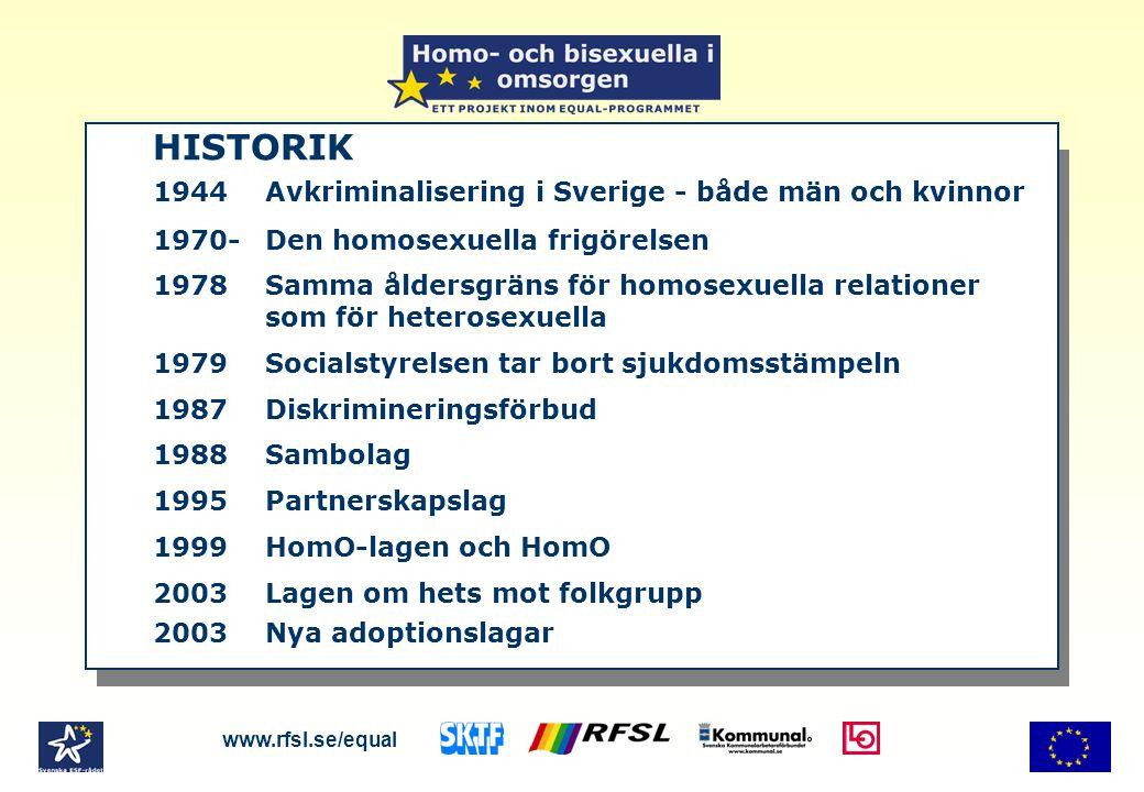 HISTORIK 1944Avkriminalisering i Sverige - både män och kvinnor 1970-Den homosexuella frigörelsen 1978Samma åldersgräns för homosexuella relationer som för heterosexuella 1979Socialstyrelsen tar bort sjukdomsstämpeln 1987Diskrimineringsförbud 1988Sambolag 1995Partnerskapslag 1999HomO-lagen och HomO 2003Lagen om hets mot folkgrupp 2003Nya adoptionslagar www.rfsl.se/equal