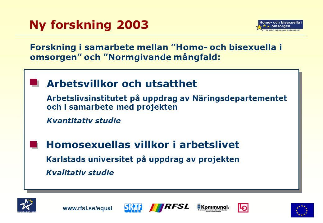 Arbetslivsinstitutet: Populationsurval, branschurval, riktat urval till organisationer Frågor om arbetsvillkor till både hetero-, homo- och bisexuella Frågor om öppenhet, skäl till att inte vara öppen, om diskriminering mm 13 681 enkätsvar, totalt ca 50 % svarsfrekvens Karlstads universitet: Djupintervjuer med utvalda homosexuella inom polis, försvar, kyrka, förskola, äldreomsorg Fokusgrupper med nyckelpersoner från branscherna Ny forskning 2003 www.rfsl.se/equal