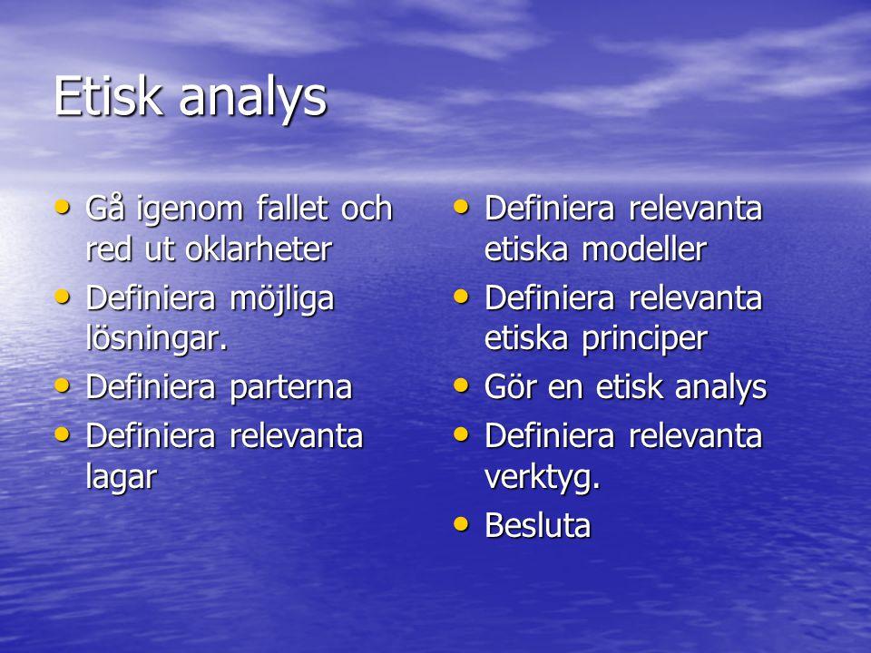 Etisk analys Gå igenom fallet och red ut oklarheter Gå igenom fallet och red ut oklarheter Definiera möjliga lösningar.