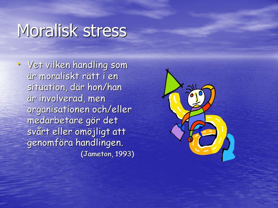 Moralisk stress Vet vilken handling som är moraliskt rätt i en situation, där hon/han är involverad, men organisationen och/eller medarbetare gör det svårt eller omöjligt att genomföra handlingen.