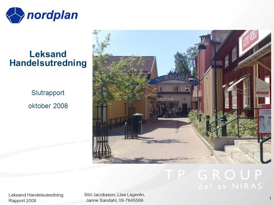 Leksand Handelsutredning Rapport 2008 Siiri Jacobsson, Lisa Lagerén, Janne Sandahl, 08-7645599 1 Leksand Handelsutredning Slutrapport oktober 2008