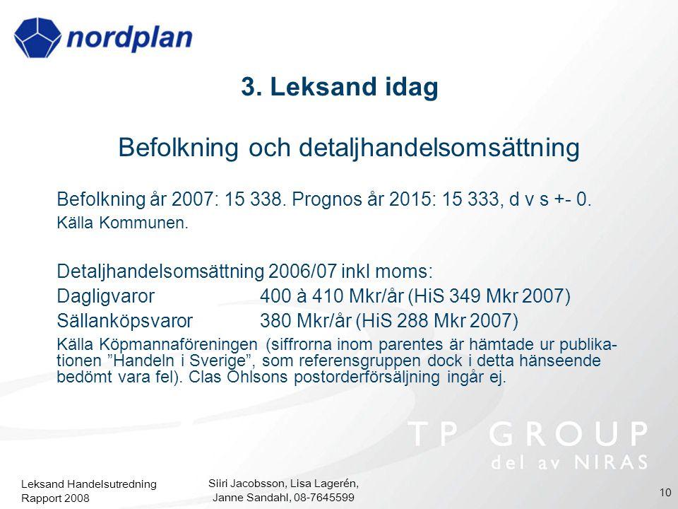 Leksand Handelsutredning Rapport 2008 Siiri Jacobsson, Lisa Lagerén, Janne Sandahl, 08-7645599 10 3. Leksand idag Befolkning och detaljhandelsomsättni