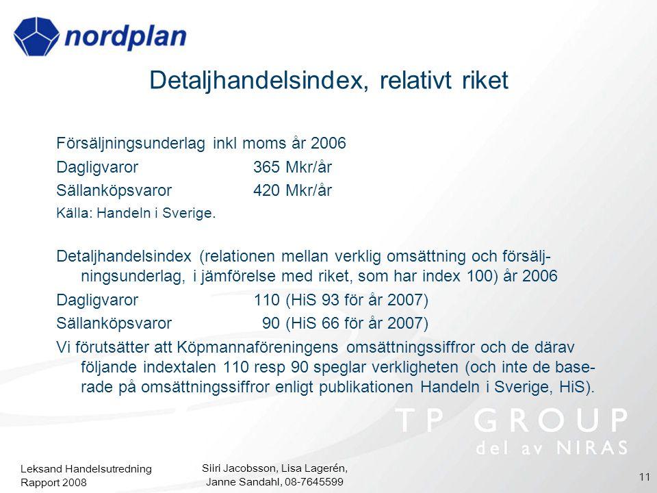 Leksand Handelsutredning Rapport 2008 Siiri Jacobsson, Lisa Lagerén, Janne Sandahl, 08-7645599 11 Detaljhandelsindex, relativt riket Försäljningsunder