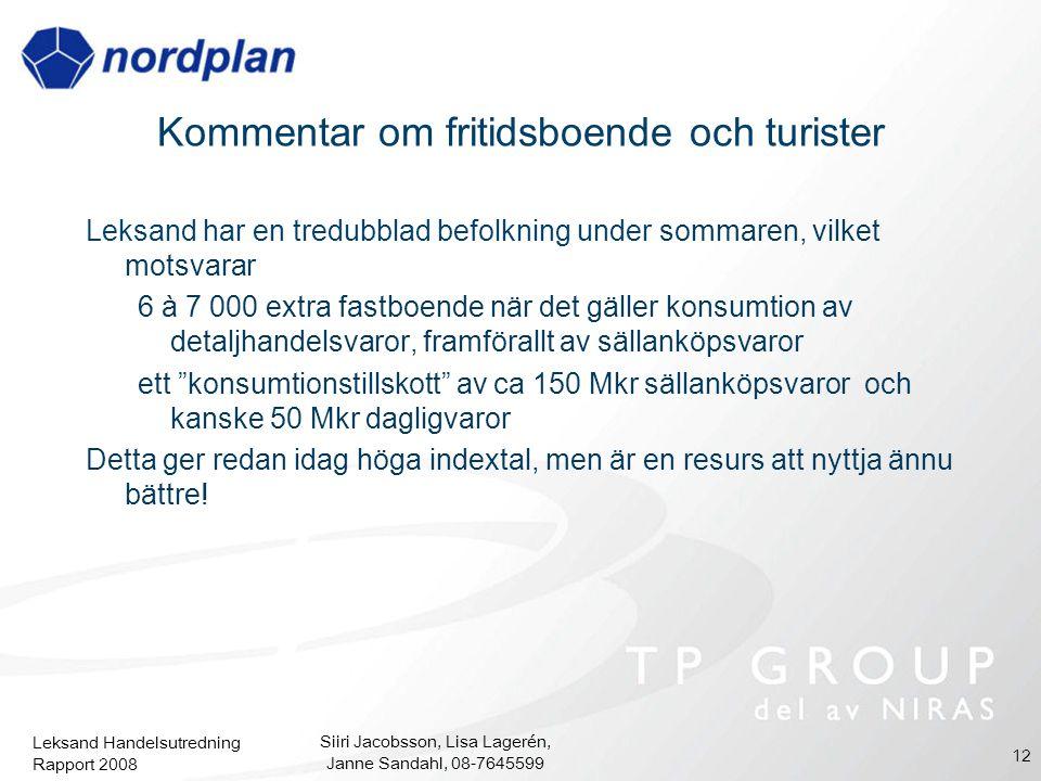 Leksand Handelsutredning Rapport 2008 Siiri Jacobsson, Lisa Lagerén, Janne Sandahl, 08-7645599 12 Leksand har en tredubblad befolkning under sommaren,