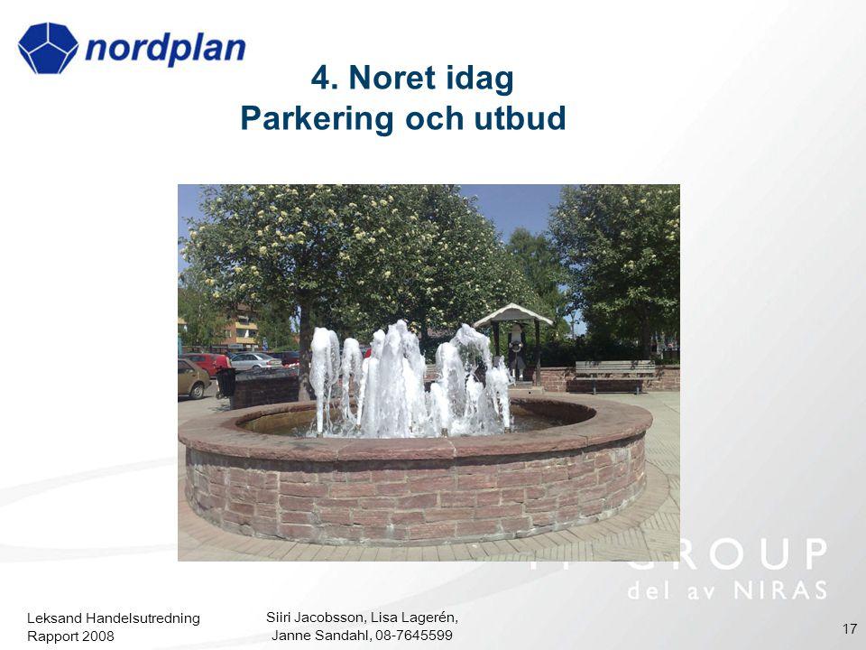 Leksand Handelsutredning Rapport 2008 Siiri Jacobsson, Lisa Lagerén, Janne Sandahl, 08-7645599 17 4. Noret idag Parkering och utbud